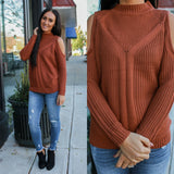 Cold Shoulder Knit Sweater - Online Clothing Boutique