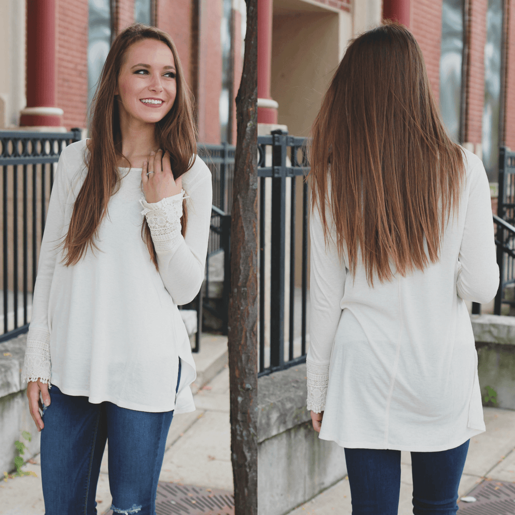 Long Lace Detailed Sleeves Round Neck High Low Hem Top