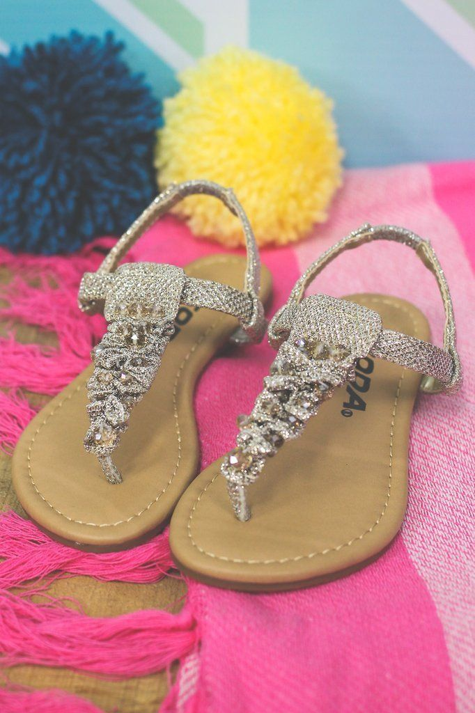 Kids T-Strap Jeweled Sandal