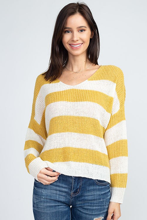 Cropped Striped Knit Sweater - Online Clothing Boutique