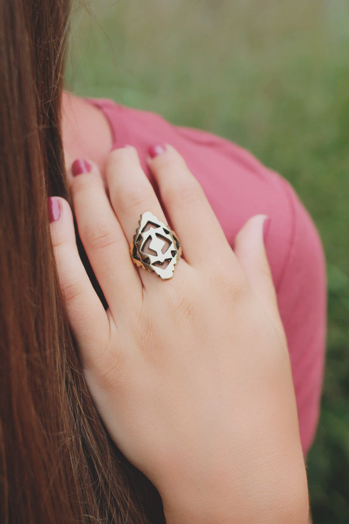 Gold Geometric Diamond Shaped Ring