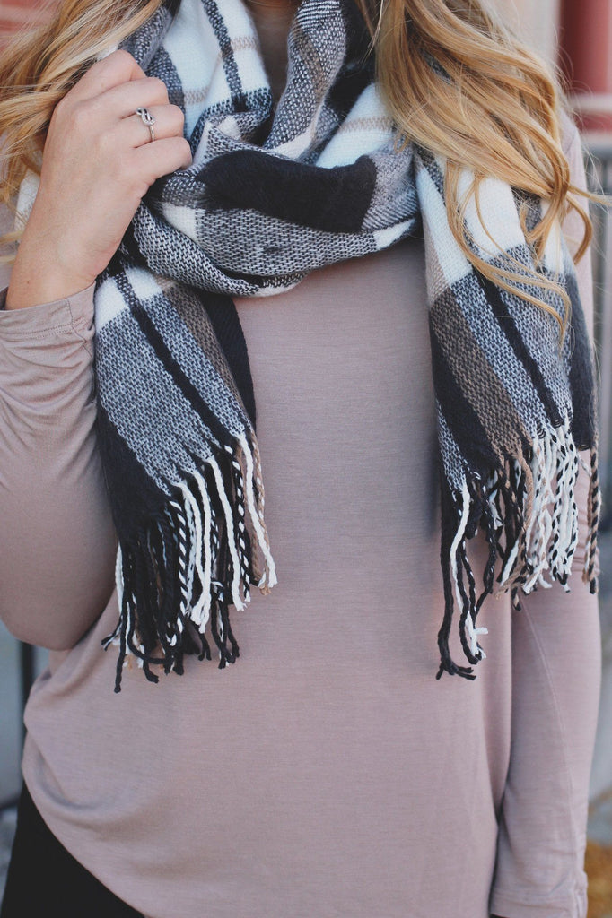 Plaid Fringe Oblong Scarf