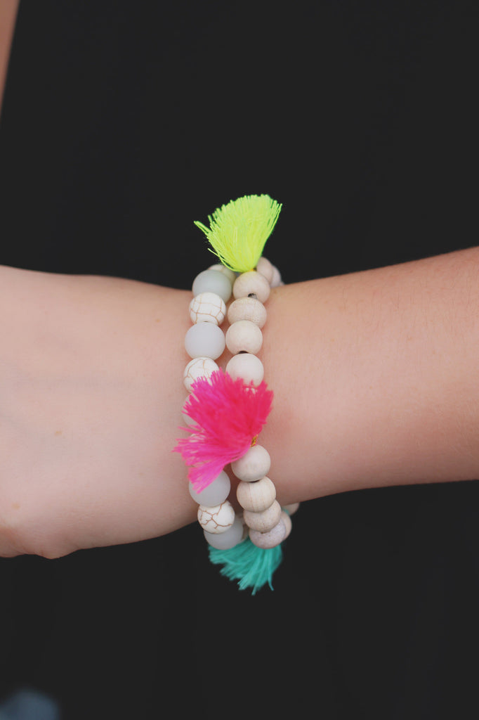 Multicolor Tassel Beaded Stretch Set of Bracelets