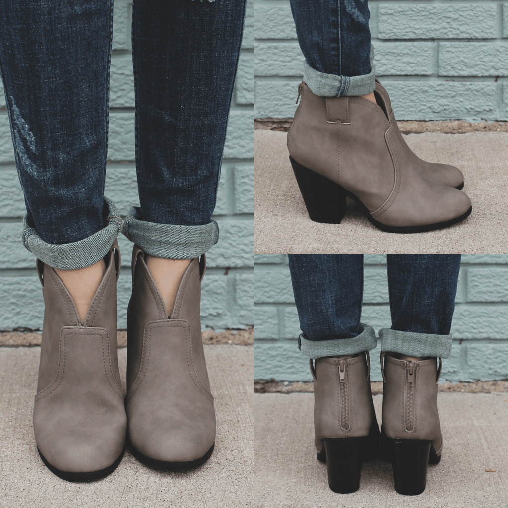 Taupe Western Stacked Wooden Heel Ankle Booties Paola