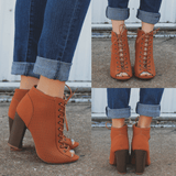 Whiskey Lace Up Front Chunky Heel Boot Stash-31M