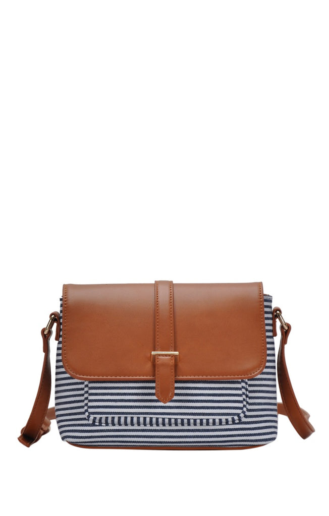 Striped Canvas Crossbody Bag - Online Clothing Boutique