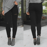 Distressed Black Low Rise Skinny Denim