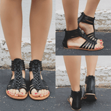 Black Vegan Leather Strappy Flat Sandals Clover-06