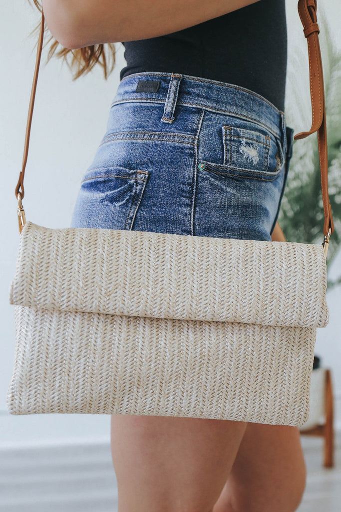 Straw Foldover Clutch - Online Clothing Boutique