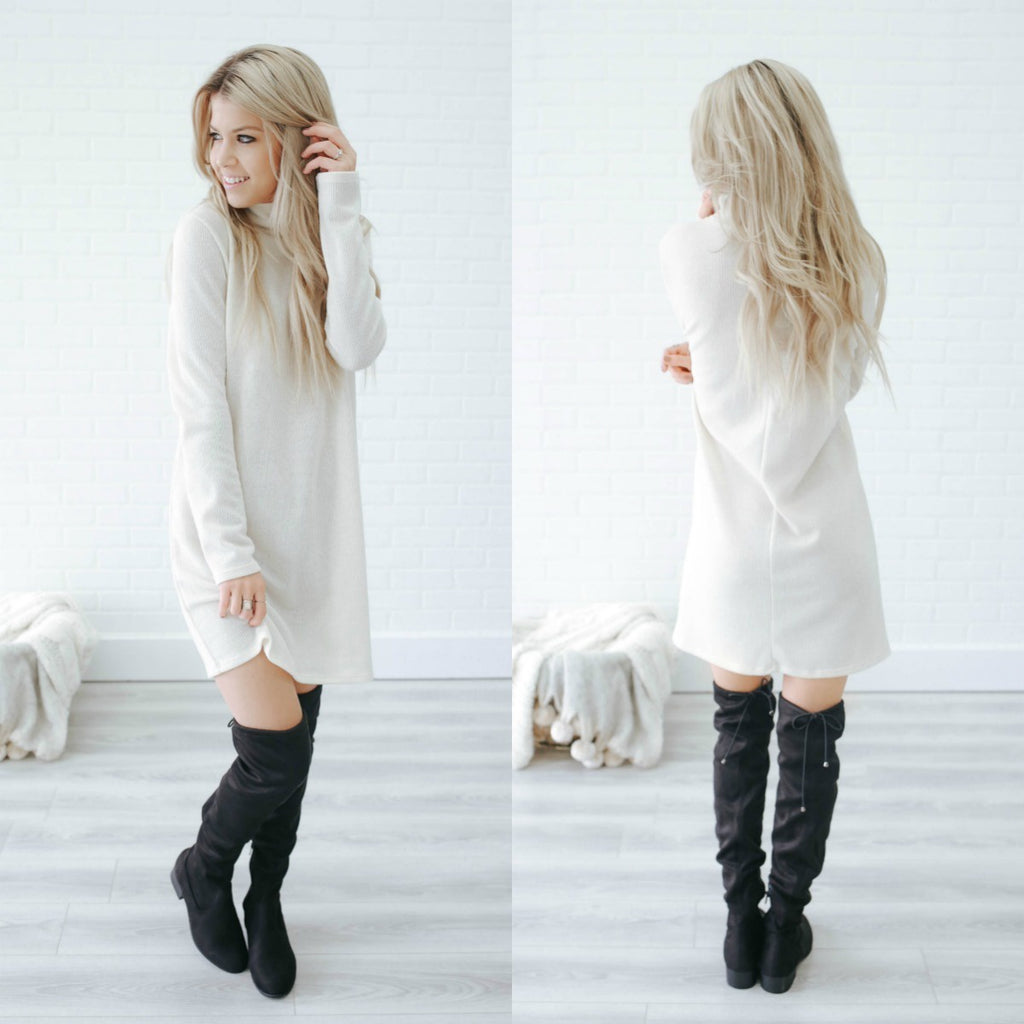 Mock Neck Sweater Dress - Online Clothing Boutique