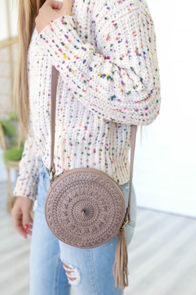 Faux Leather Circle Bag - Online Clothing Boutique