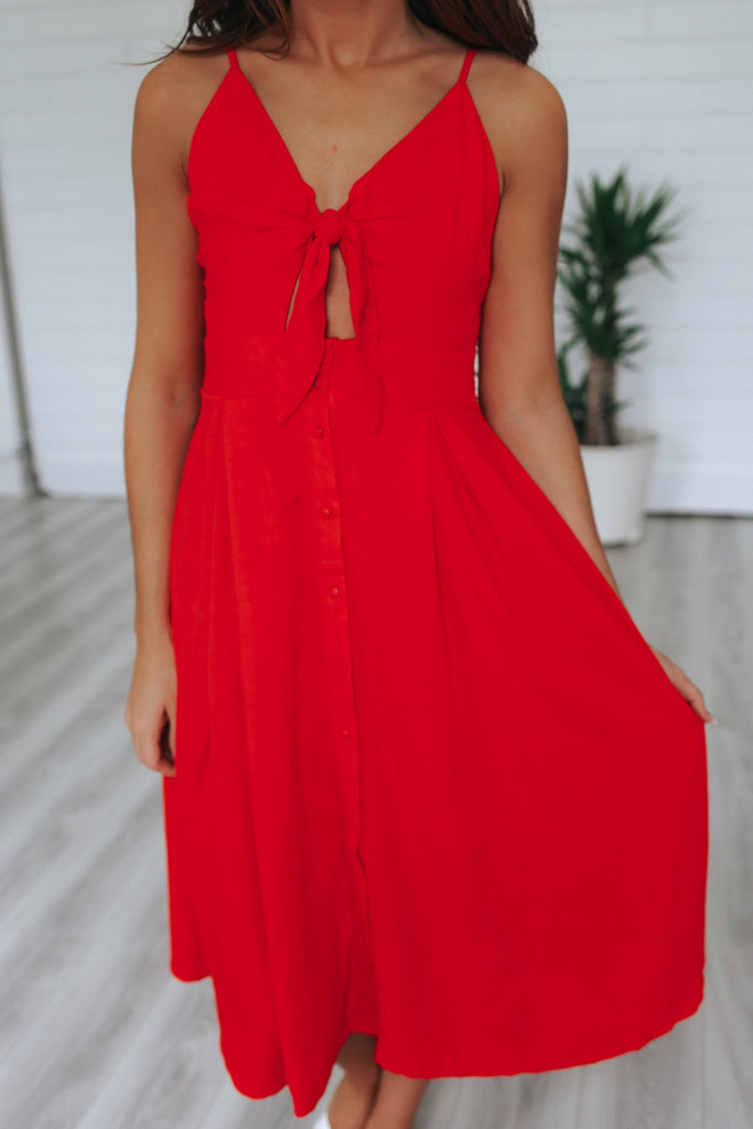 Red Vintage Style Midi Dress - Online Clothing Boutique