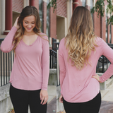 Rose Long Sleeve V-neck Top