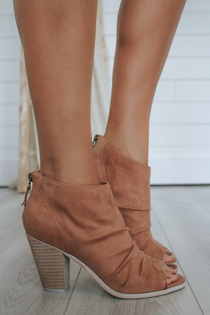 LAUREN Peep Toe Ankle Booties - Online Clothing Boutique