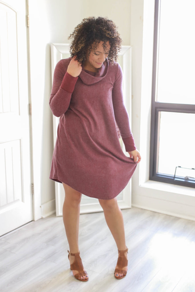 Cowl Neck Knit Dress - Online Clothing Boutique