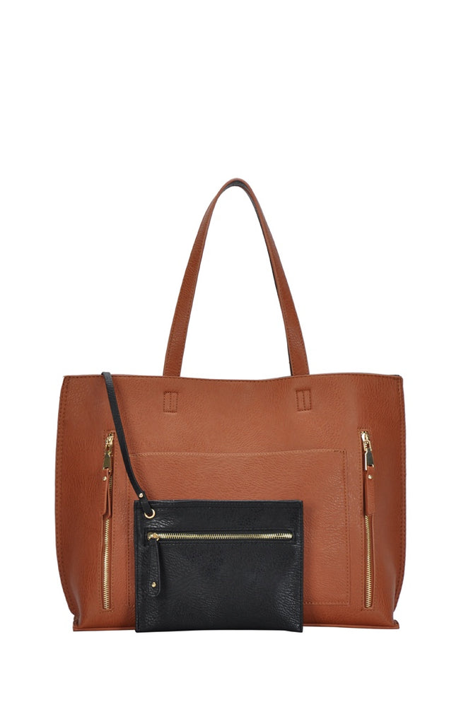 2 in 1 Faux Leather Tote Bag - Online Clothing Boutique