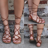 Strappy Faux Leather Strappy Sandals treasure-s