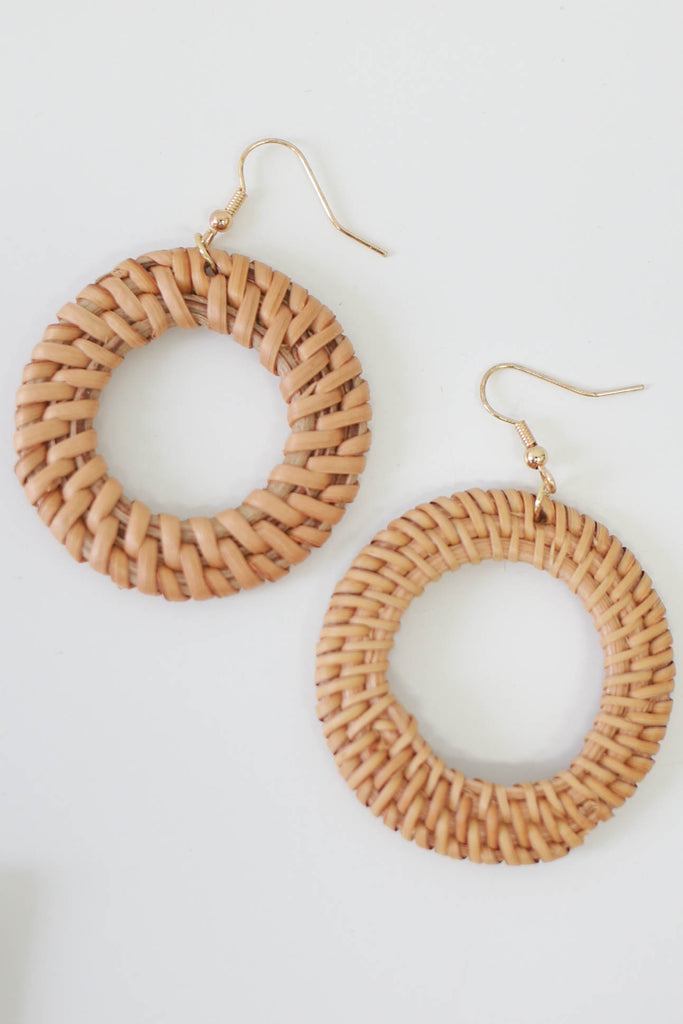 Woven Wood Earrings - Online Clothing Boutique