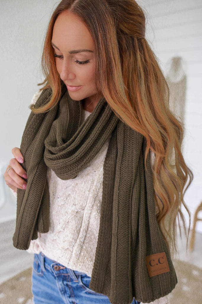Ribbed Knit Scarf - Online Clothing Boutique