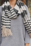 Soft Striped Unfinished Edge Fringe Scarf
