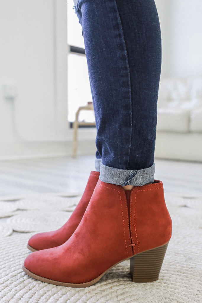 PIANO Faux Suede Ankle Booties - Online Clothing Boutique