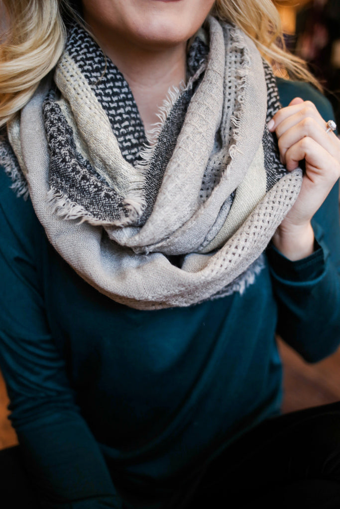 Striped Textured Raw Edge Infinity Scarf