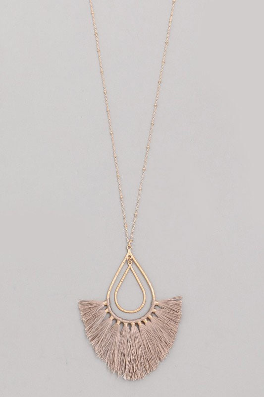 Teardrop Tassel Necklace - Online Clothing Boutique