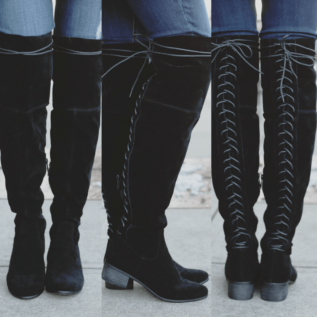 Black Faux Suede Lace Up Over the Knee Boots Houston-12