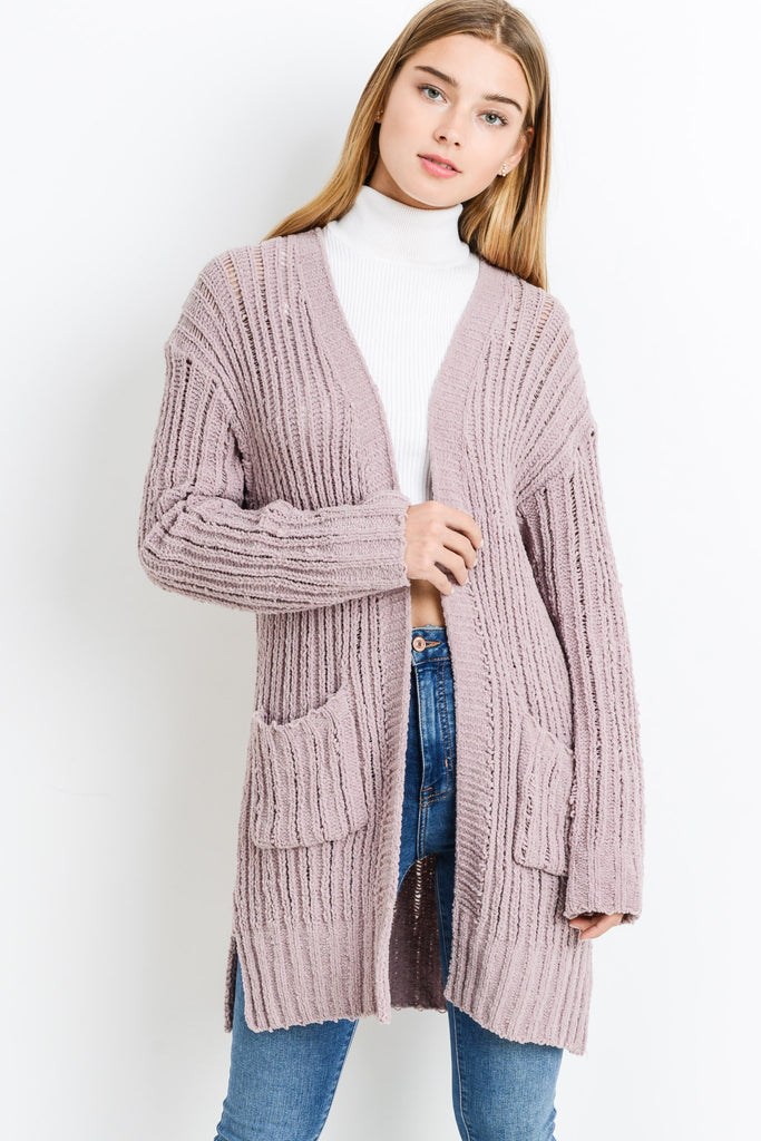 Long Sleeve Distressed Chenille Cardigan - Online Clothing Boutique