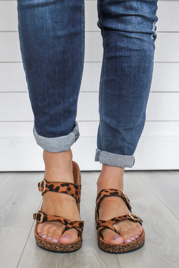 Leopard Birkenstock Sandals - Online Clothing Boutique
