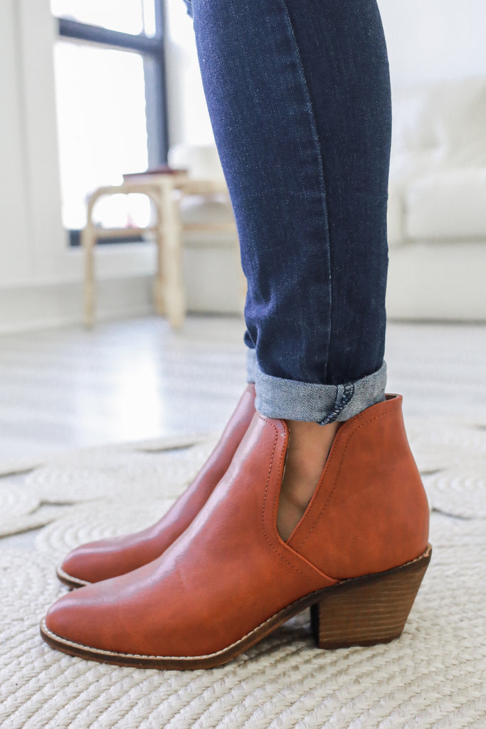 Sunny-01 Faux Leather Ankle Booties - Online Clothing Boutique
