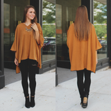 Lightweight Deep V Ribbed Knit Faux Leather Trim Poncho