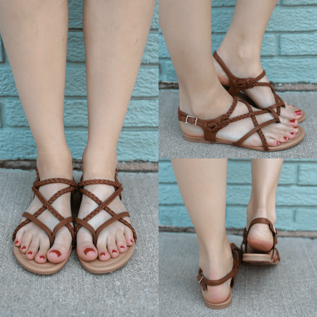 Faux Leather Braided Strappy Sandals Topping-S