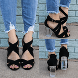 Strappy Open Toe Clear Block Heels Kloude-12A