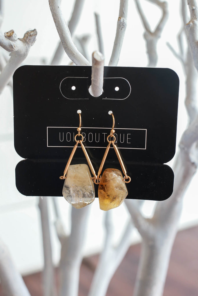 Geometric Stone Earrings - Online Clothing Boutique