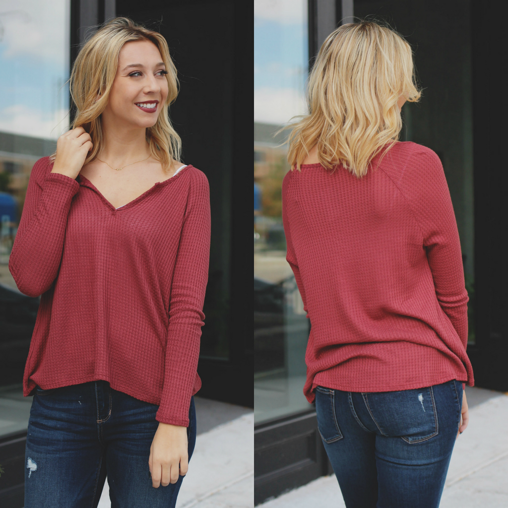 Lightweight Waffle Knit Long Sleeve V-neck Top