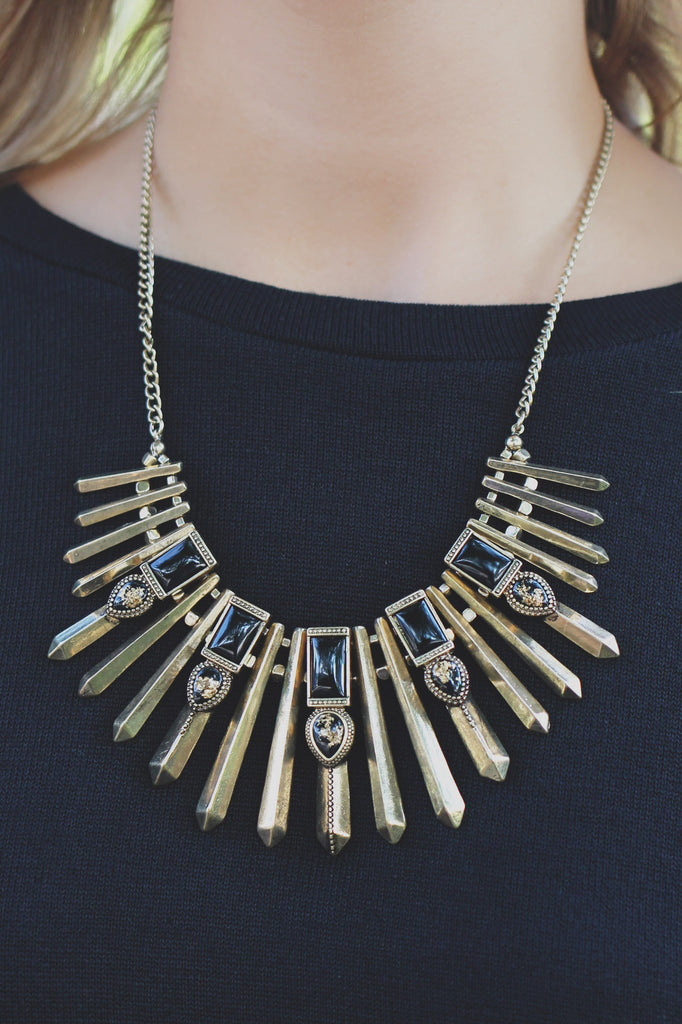 Black and Gold Matchstick Pendant Statement Necklace