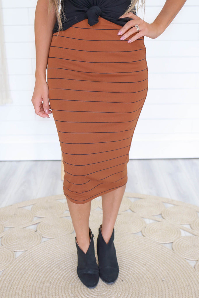 Striped Pencil Skirt - Online Clothing Boutique