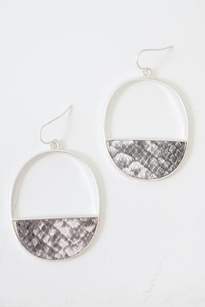 Snakeskin Hoop Earrings - Online Clothing Boutique
