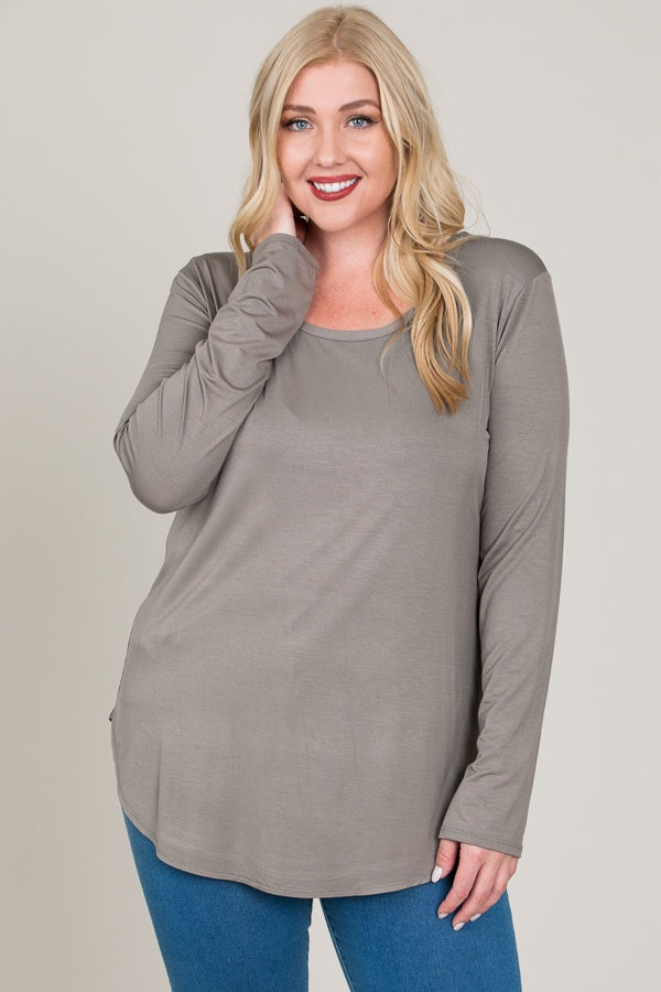 Plus Size Basic Long Sleeve Top - Online Clothing Boutique