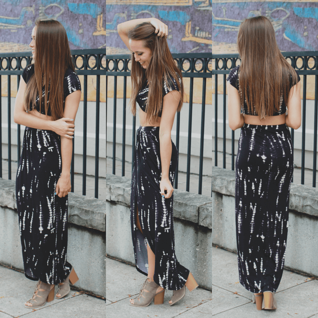 Short Sleeve Deep V Crop Top Maxi Skirt Two-Piece Dress