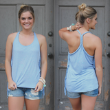Carolina Blue Fringe Side Braided Accent Racerback Top
