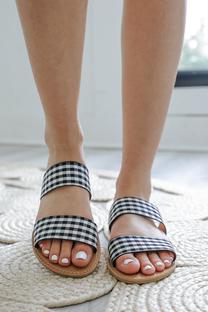 Athena-1076AXXX Gingham Print Sandals - Online Clothing Boutique