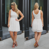 Lace Perforated Waist Sleeveless A-line Mini Dress