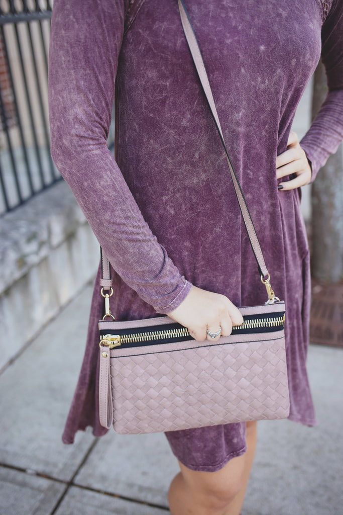 Taupe Woven Faux Leather Crossbody Bag