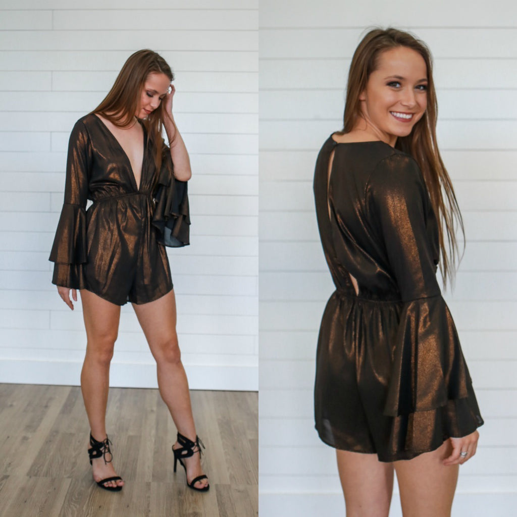 Metallic Bell Sleeve Romper - Online Clothing Boutique