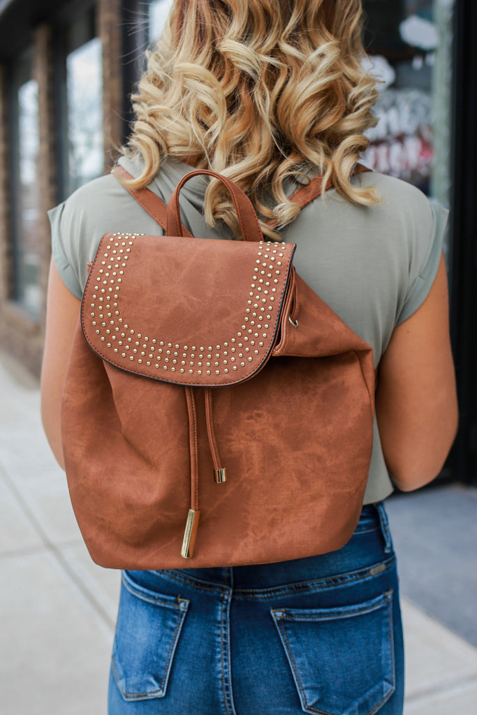 Faux Leather Distressed Studded Drawstring Backpack