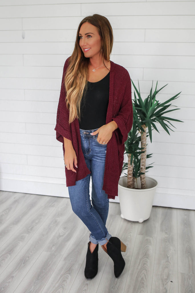 Open Front Knit Cardigan - Online Clothing Boutique