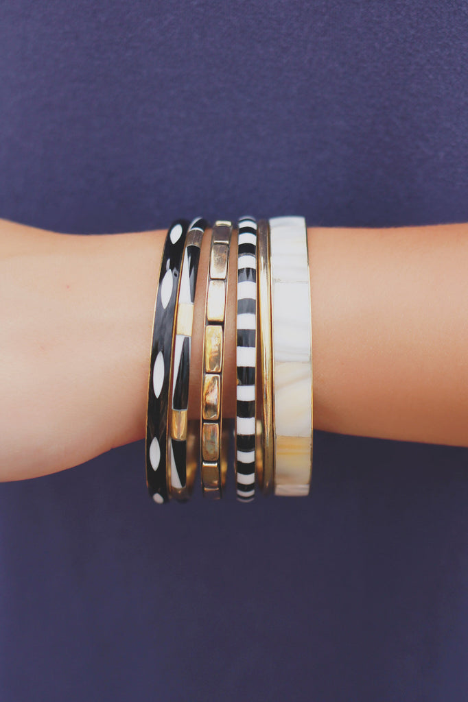 Black and Gold Bangle Set