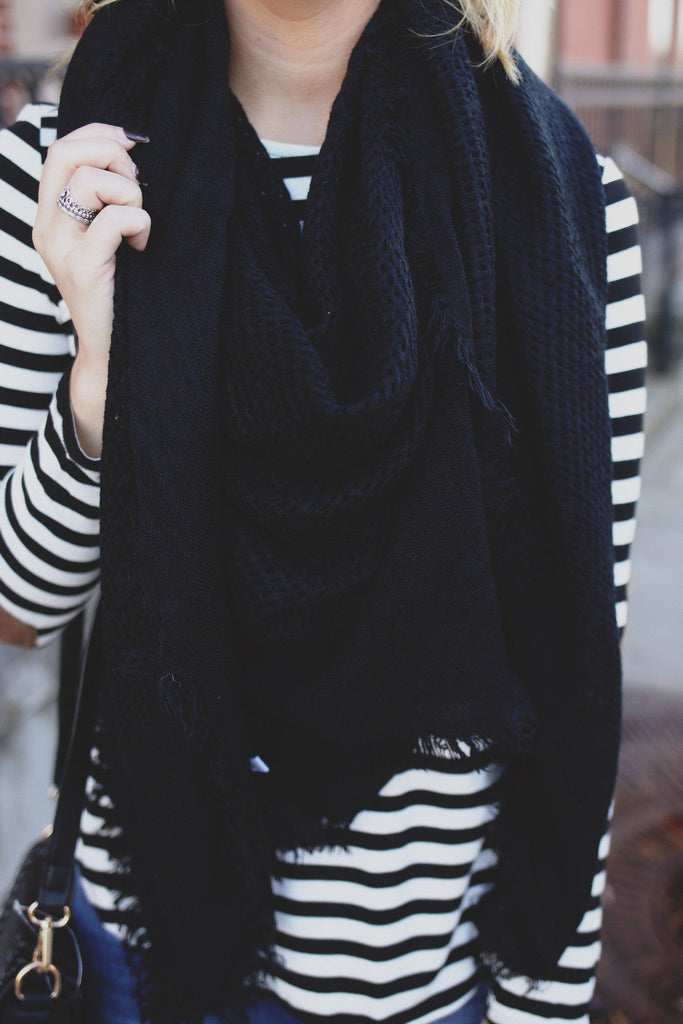Solid Black Open Knit Blanket Scarf